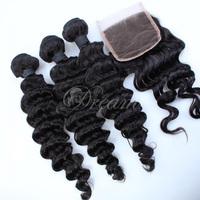 Factory Free Part (4*4) Top Lace Closure Deep Wave Hair Weft  Malaysian Virgin Human Hair Mix Length 4pcs/lot  UPS Free Shipping