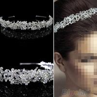 Women's Girl's Twinkling Full Crystal Flower Leaf Wedding Bridal Flower Girl Tiara flower headband 06BW