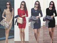 Free Shipping Fashion Women Elegant Sexy Solid Color Long Sleeve Slim OL Casual Mini Dress [1 70-3730]