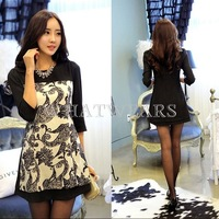 Free Shipping Womens Vintage Pattern Round Neck 3/4 Sleeves Slim Fit Dress 2 Colors S~XL [4 71-3002]