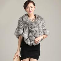 FREE SHIPPING*HOT*100% Rabbit Fur Shawl,Knitted Rabbit Fur Pashmina, Fur Scarf, SU-14044
