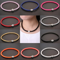 New Hot fashion jewelry Braided leather Punk Magnetic Rhinestone Buckle necklace Choker Necklaces (Min order $10)