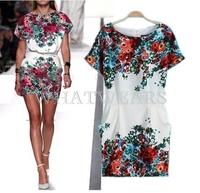 Free Shipping Fashion Womens Elegant Floral Pattern Tunic Short Sleeves Dresses [4 70-3992] 170