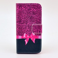Free shipping leopard and bowknot case Stand Wallet PU Leather Case for iphone 5s 5