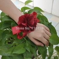 wine red color Bride bridesmaids aritificial rose wrist  flower hand flower wedding supplies chiffon silk ribbon  flower