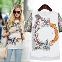 Free Shipping 2014 new summer women's T-shirt European and American printing straight barrel women's chiffon shirt blouse S-XL