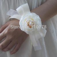 white color Bride bridesmaids ribbon wrist  flower hand flower wedding supplies chiffon silk ribbon  flower