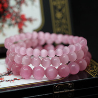 Min order $15 new fashion 1 laps pink beaded bracelet for women and girls  best selling for gift