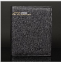 Hot Selling 2014 Men's genuine leather wallets Brand short design Business carteira,High Quality Fashion Black Men purse 3