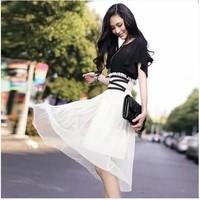 9824 women's tiebelt colorant match the lotus leaf short-sleeve chiffon skirt