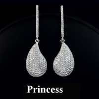 Luxury quality zircon earrings fangzuan earrings formal dress earrings long zircon full rhinestone sparkling female bride