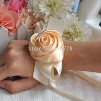 orange color Bride bridesmaids ribbon wrist  flower hand flower wedding supplies chiffon silk ribbon  flower