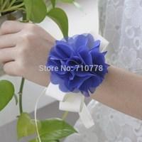 purple color Bride bridesmaids aritificial rose wrist  flower hand flower wedding supplies chiffon silk ribbon  flower