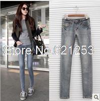 Women's Cotton Jeans Pencil Pants Feet Pants Elastic Slim Jeans Low Waist Long Jean Vintage Washed Spring-Autumn 1203