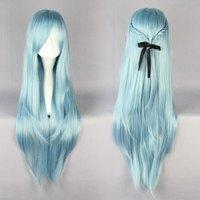 Free Shipping 85cm Long Sword Art Online -Asuna Yuuki Multi-color Anime Cosplay Costume Wig