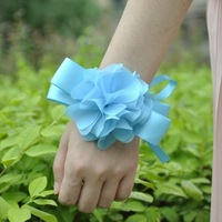 blue color Bride bridesmaids aritificial rose wrist  flower hand flower wedding supplies chiffon silk ribbon  flower