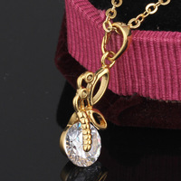 2014 Exquisite Gold Plated Crystal Abstract Large Azorite Prom Party Wedding Necklace Pendant For Gift D0339