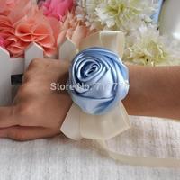 light blue color Bride bridesmaids ribbon wrist  flower hand flower wedding supplies chiffon silk ribbon  flower