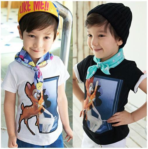 Retail 2014 new summer baby boy t shirt kids print t shirt black white short sleeve cotton deer t shirt children t shirts(China (Mainland))