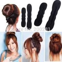 New Fashion Cute Lady Foam Style Magic Black Bun Hair Styling Maker Tool Clip Twist 2 Sizes Free Ship