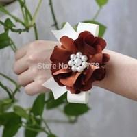 brown color pearl Bride bridesmaids aritificial rose wrist  flower hand flower wedding supplies chiffon silk ribbon  flower