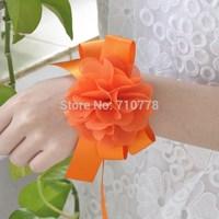 orange Bride bridesmaids wrist flower hand flower wedding wedding supplies chiffon flower
