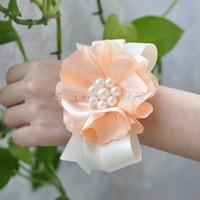 peach color pearl Bride bridesmaids aritificial rose wrist  flower hand flower wedding supplies chiffon silk ribbon  flower