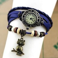 100pcs/lot 7 colors Vintage leather ladies watch with owl pendant DHL Free Shipping