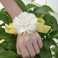 ivory  color pearl Bride bridesmaids aritificial rose wrist  flower hand flower wedding supplies chiffon silk ribbon  flower