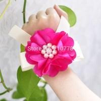 hot pink color pearl Bride bridesmaids aritificial rose wrist  flower hand flower wedding supplies chiffon silk ribbon  flower