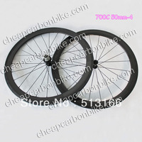 Wholesale Cheap 700C 50mm Clincher Full Carbon Fiber Bicycle WheelSet 12K Glossy Surface with Basalt Brake Layer