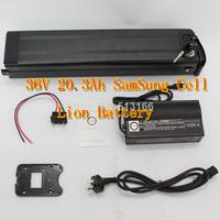 Ebike Samsung Monomer Battery 36V 20.3AH Li-ion Battery with Black Aluminium Case BMS Charger