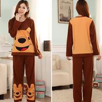 Cute Cartoon Bear Pattern Women Pajama Sets Pure Cotton Indoor Clothing Full Sleeve Sleepwear Autumn and Winter Warm Homewear