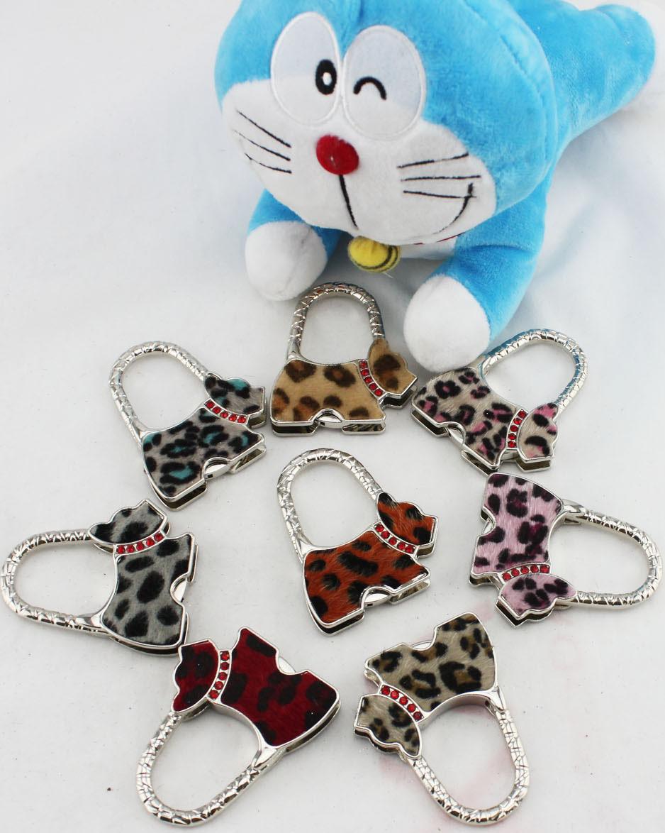 Fedex Free Shipping high quality leather leopard dog purse hook handbag hook bag hanger holder hook bag hook(China (Mainland))