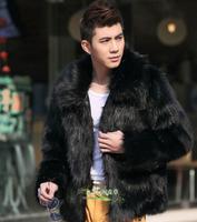 men leather jacket genuine jacket pu jaqueta pu xxl 2014 man imitated the fox fur coat Imitation fur coat