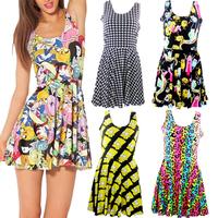 Fashion New 5 colors  X  2014 Summer adventure time Neon Simpsons patterns print Women Skatercasual saia punk cute  dress