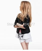Free Shipping-2014 new Big brand Metal zipper girl PU jacket Locomotive kids coat PU Cardigans 5pcs/lot