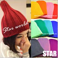 Fashion women's Beanie Hat Skull Cap Knit Winter Women Knitted Hat fluo colors Hip-hop Cap