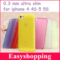 1pcs freeshipping 0.3mm ultra thin case for iPhone 5G 5s Slim MatteTransparent Cover Case For iPhone 4 4S 5 5S case shell