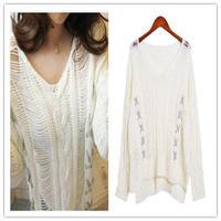 Free shipping, 2014 new women's winter fashion retro twist Dongguk door hollow sweater wool lace blouse