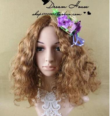 Fashion unique purple lovely flowers mini straw Hat Hair Clip elegant girl beach holiday headwear free shipping(China (Mainland))