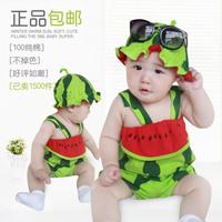 2014 summer baby romper clothing boy girl watermelon style clothing baby clothes watermelon hat jumpsuit romper clothing summer