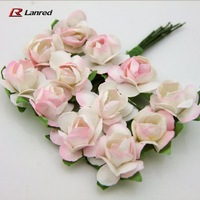 Hot sale 144 pcs 15mm Pink Mulberry Paper Flowers Handmade Scrapbooking Candy Box Rose Flower Free Shipping PA-12