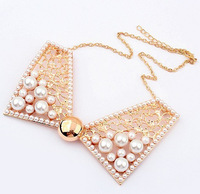 Luxury Bowknot Gold Plated Necklace Collar Pendant Necklaces Jewelry for Women Best Gift