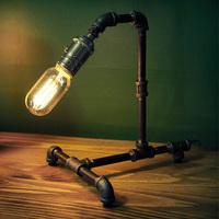 Rust color edison water pipe loft industrial novelty book room bedroom vintage table lamp light