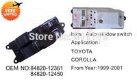 Power Window Regulator 84820-12361 for Toyota COROLLA 1999-2001, Window Lifter Switch, Master Switch Control, Free Shipping
