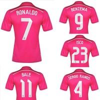 2014-15 Real Madrid away pink team soccer football jerseys t shirt sportswear camisetas de futbol camisa Thailand quality