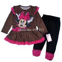 wholesale brand girls clothing New 2014 Autumn minnie mouse clothing sets girls sets kids sets long sleeve tutu dress+leggings