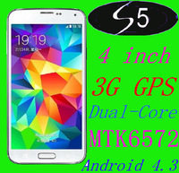 In Stock S5 SV i9600 Mobile phone 4 Inch Android 4.3.3 MTK6572 3G GPS Dual Core 4GB ROM Camera 5.0 MP cell phones