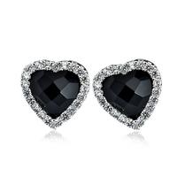 Wholesale GNE0986 Genuine 925 sterling silver Stud Earring Fashion Women Jewelry black Agate Earring with AAA CZ 3.6g